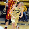 "Chelsea Dale of CU is fired up near the end of the game during the overtime win over Iowa State  66-60.<br /> For more photos of the game, go to  <a href=""http://www.dailycamera.com"">http://www.dailycamera.com</a>.<br /> Cliff Grassmick / January 15, 2011"