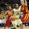 """Brittany Spears of Colorado looks for room around Chassidy Cole (23) and Anna Prins of Iowa State.<br /> For more photos of the game, go to  <a href=""""http://www.dailycamera.com"""">http://www.dailycamera.com</a>.<br /> Cliff Grassmick / January 15, 2011"""