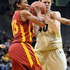 """Chassidy Cole, left, of ISU, and Rachel Hargis of CU, battle for the ball on Saturday.<br /> For more photos of the game, go to  <a href=""""http://www.dailycamera.com"""">http://www.dailycamera.com</a>.<br /> Cliff Grassmick / January 15, 2011"""
