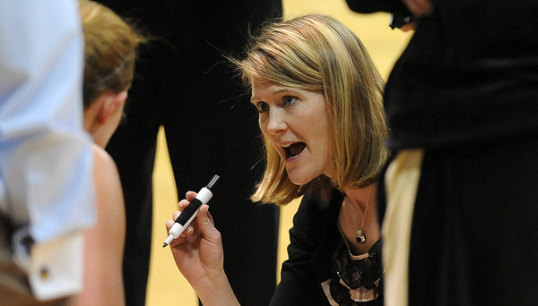 "CU coach Linda Lappe during a timeout at the Iowa State game.<br /> For more photos of the game, go to  <a href=""http://www.dailycamera.com"">http://www.dailycamera.com</a>.<br /> Cliff Grassmick / January 15, 2011"