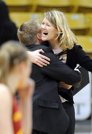"""A big win for Linda Lappe of CU.<br /> For more photos of the game, go to  <a href=""""http://www.dailycamera.com"""">http://www.dailycamera.com</a>.<br /> Cliff Grassmick / January 15, 2011"""