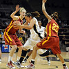 "Bianca Smith of Colorado, center, drives between Anna Prins, left, and Chassidy Cole, both of Iowa State, during the first half of the January 16, 2010 game in Boulder. For more photos of the game, go to  <a href=""http://www.dailycamera.com"">http://www.dailycamera.com</a>.<br /> Cliff Grassmick / January 16, 2010"