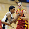 "Brittany Spears of CU drives the lane past Kelsey Bolte of Iowa State on Saturday. For more photos of the game, go to  <a href=""http://www.dailycamera.com"">http://www.dailycamera.com</a>.<br /> Cliff Grassmick / January 16, 2010"