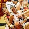 "Denae Stuckey, left, of ISU, and Chucky Jeffery of CU battle for a rebound late in the game.<br /> For more photos of the game, go to  <a href=""http://www.dailycamera.com"">http://www.dailycamera.com</a>.<br /> Cliff Grassmick / January 16, 2010"