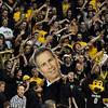 The University of Colorado basketball student section cheer on the Buffs at the Kansas game.<br /> Cliff Grassmick / February 3, 2010