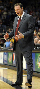 Kansas coach Bill Self was concerned most of the game against CU on Wednesday. Cliff Grassmick / February 3, 2010