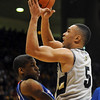 Marcus Relphorde of CU tries to draw a blocking foul against KU.<br /> Cliff Grassmick / February 3, 2010