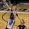 """Nikki Lindow (15) of Colorado tries to get the ball past JuliAnne Chisholm of Kansas State on Wednesday.<br /> For more photos from the game, go to  <a href=""""http://www.dailycamera.com"""">http://www.dailycamera.com</a>.<br />  Cliff Grassmick / September 22, 2010"""