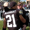 """Former coach Dan Hawkins has a hug for Scotty McKnight on CU senior day.<br /> For more photos of the game, go to  <a href=""""http://www.dailycamera.com"""">http://www.dailycamera.com</a>.<br /> Cliff Grassmick / November 20, 2010"""