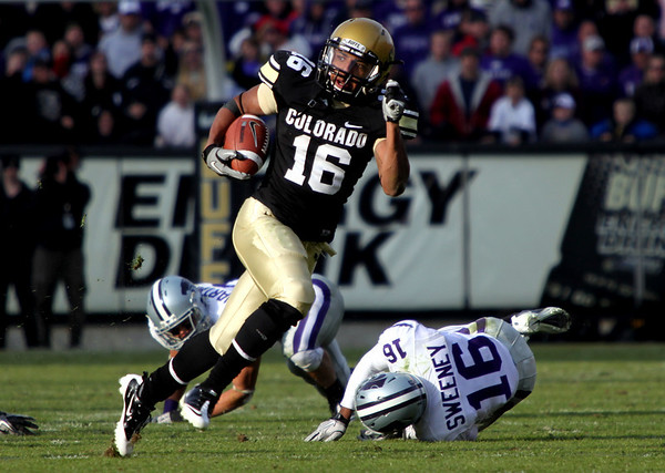 University of Colorado's wide receiver Will Jefferson runs the ball during the game against Kansas State at Folsom Field on Saturday. CU beat Kansas State 44-36.<br /> Saturday, Nov.  20, 2010. <br /> SAM HALL / Camera
