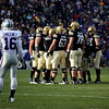 University of Colorado's offense huddles during the game against Kansas State at Folsom Field on Saturday. CU beat Kansas State 44-36.<br /> Saturday, Nov.  20, 2010. <br /> SAM HALL / Camera