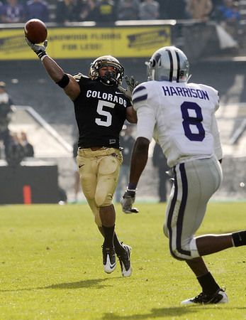 """Rodney Stewart of CU throws a TD catch against KSU.<br /> For more photos of the game, go to  <a href=""""http://www.dailycamera.com"""">http://www.dailycamera.com</a>.<br /> Cliff Grassmick / November 20, 2010"""