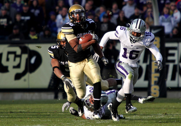 University of Colorado's wide receiver Will Jefferson runs the ball during the game against Kansas State at Folsom Field on Saturday. <br /> Saturday, Nov.  20, 2010. <br /> SAM HALL / Camera<br /> <br /> <br /> <br /> <br /> <br /> <br /> <br /> <br /> <br /> <br /> <br /> University of Colorado's wide receiver Will Jefferson runs the ball during the game against Kansas State at Folsom Field on Saturday. CU beat Kansas State 44-36.<br /> Saturday, Nov.  20, 2010. <br /> SAM HALL / Camera
