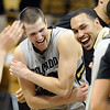"Austin Dufault, left, and Marcus Relphorde, celebrate CU's win over Kansas State on Saturday.<br /> For more photos of the CU game, go to  <a href=""http://www.dailycamera.com"">http://www.dailycamera.com</a>.<br /> Cliff Grassmick / February 12, 2011"