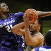 "Marcus Relphorde, right, of Colorado, drives to get past Jordan Henriquez-Roberts of Kansas State during the first half of the February  12, 2011 game in Boulder.<br /> For more photos of the CU game, go to  <a href=""http://www.dailycamera.com"">http://www.dailycamera.com</a>.<br /> Cliff Grassmick / February 12, 2011"