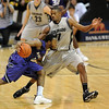 Jacob Pullen of Kansas State is closed off by Cory Higgins of CU.<br /> <br /> Cliff Grassmick / January 16, 2010