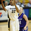 "Brittany Spears of CU scores past Taelor Karr of KSU.<br /> For more  photos of the game, go to  <a href=""http://www.dailycamera.com"">http://www.dailycamera.com</a>.<br /> Cliff Grassmick / March 3, 2010"