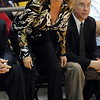 """CU women's basketball coach Kathy McConnell-Miller watches the action in the Kansas State game.<br /> For more  photos of the game, go to  <a href=""""http://www.dailycamera.com"""">http://www.dailycamera.com</a>.<br /> Cliff Grassmick / March 3, 2010"""