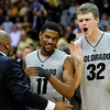 CU's Cory Higgins, left, and Ben Mills celebrate their 81-74 win over Kent State.<br /> Photo by Marty Caivano/March 22, 2011