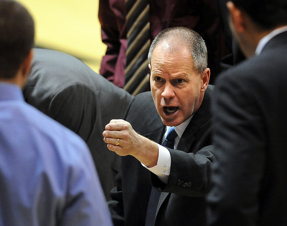 "Colorado men's basketball coach, Tad Boyle, talks to the team during the Longwood game.<br /> For more photos of the game, go to  <a href=""http://www.dailycamera.com"">http://www.dailycamera.com</a>.<br /> Cliff Grassmick / December 19, 2010"