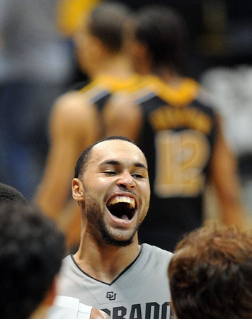 """Marcus Relforde of CU is happy about the upset win over Missouri on Saturday.<br /> For more photos of the game, go to  <a href=""""http://www.dailycamera.com"""">http://www.dailycamera.com</a>.<br /> Cliff Grassmick / January 8, 2011"""