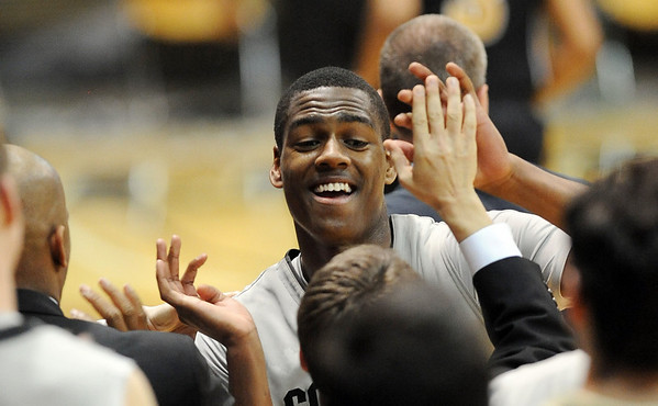 """Alec Burks of CU is happy about the upset win over Missouri on Saturday.<br /> For more photos of the game, go to  <a href=""""http://www.dailycamera.com"""">http://www.dailycamera.com</a>.<br /> Cliff Grassmick / January 8, 2011"""