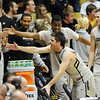 """Nate Tomlinson joins other Buffs giving high fives to the fans after the Missouri upset.<br /> For more photos of the game, go to  <a href=""""http://www.dailycamera.com"""">http://www.dailycamera.com</a>.<br /> Cliff Grassmick / January 8, 2011"""
