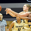 "Julie Seabrook, left, of CU, and Shakara Jones of Missouri, reach for a rebound.<br /> For more photos of the game, go to  <a href=""http://www.dailycamera.com"">http://www.dailycamera.com</a>.<br /> Cliff Grassmick / January 22, 2011"