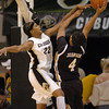 Brittany Spears of CU pressures Jessra Johnson of Missouri.<br /> Cliff Grassmick / January 9, 2010