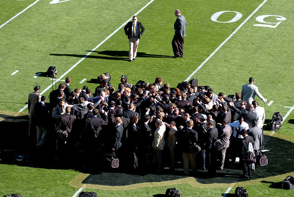 The CU Buff team meet at the Buffaloe at midfield before the Nebraska game.<br /> Cliff Grassmick /November 27, 2009
