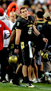 Tyler Hansen  after his third interception againsy Nebraska on Friday.  Cliff Grassmick /November 27, 2009