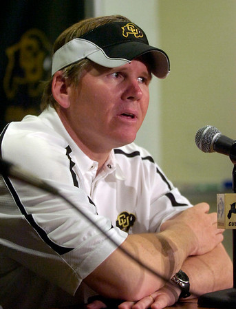 CU Buffs Head Coach Dan Hawkins answers questions from the media after the University of Colorado game against Nebraska on Friday on Folsom Field in Boulder November 27, 2009.<br /> Photo by Paul Aiken / The Camera