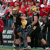 Jake Behrens (41) celebrates his touchdown catch against Nebraska on Friday.<br /> <br /> Cliff Grassmick /November 27, 2009