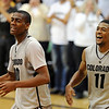 "Alec Burks, and Cory Higgins, celebrate the Nebraska win.<br /> For more photos of the game, go to  <a href=""http://www.dailycamera.com"">http://www.dailycamera.com</a>.<br /> Cliff Grassmick / March 5, 2011"