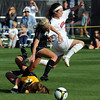 Kelly Ross, center, of CU and Molly Thomas of NU, run over Colorado keeper Kara Linder. No goal was scored on this play.<br /> Cliff Grassmick / September 25, 2009
