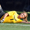 Kara Linder of CU stretches out to stop a shot against Nebraska.<br /> Cliff Grassmick / September 25, 2009