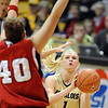 Alyssa Fressle looks for her shot against Nebraska on Saturday.<br /> Cliff Grassmick / January 30, 2010