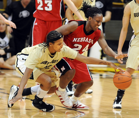 Brittany Spears of CU and Dominique Kelley of NU go for a  loose ball on Saturday.<br /> Cliff Grassmick / January 30, 2010