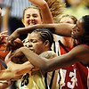 Chucky Jeffery (23), left, of Colorado, tries to control a rebound against Catheryn Redmon of Nebraska during the second half of the January 30, 2010 game in Boulder.<br /> Cliff Grassmick / January 30, 2010