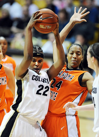 "Brittany Spears, left, of Colorado, gets a rebound over Precious Robinson of Oklahoma State during the second half of the January 24, 2010 game in Boulder.<br /> For more photos, go to the photo galleries at  <a href=""http://www.dailycamera.com"">http://www.dailycamera.com</a>.<br /> Cliff Grassmick / January 24, 2010"