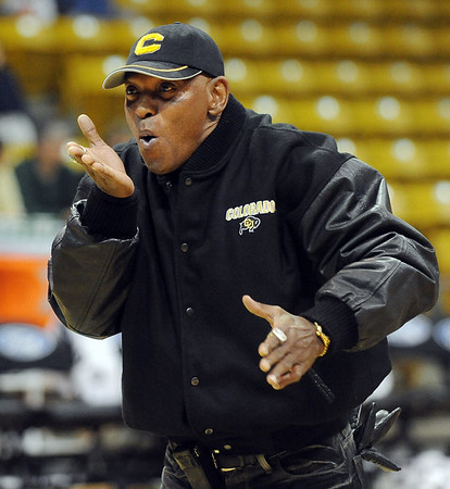 "CU Hall of Famer, Cliff Branch, blows a kiss to the crowd.<br /> For more photos of the game, go to  <a href=""http://www.dailycamera.com"">http://www.dailycamera.com</a><br /> Cliff Grassmick / November 12, 2010"
