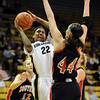 Brittany Spears of Colorado shoots over Chanel Thorley of Southern Utah.<br /> <br /> Cliff Grassmick / December 19, 2009
