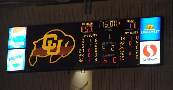 The half time score against Southern Utah.<br /> <br /> Cliff Grassmick / December 19, 2009