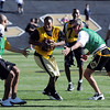 "Cha'pelle Brown takes off with a pass during the CU Alumni game on Saturday.<br /> For more photos of the game and a video of the alumni game, go to  <a href=""http://www.dailycamera.com"">http://www.dailycamera.com</a>.<br /> Cliff Grassmick/ April 9, 2011"