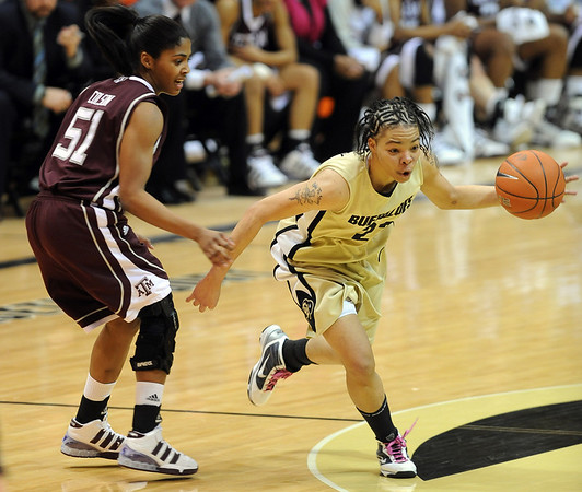 "Chucky Jeffery of CU dribbles past Sydney Colson of Texas A&M.<br /> For more  photos of the game, go to  <a href=""http://www.dailycamera.com"">http://www.dailycamera.com</a>.<br /> Cliff Grassmick / February 27, 2010"