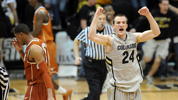 "Levi Knutson of Colorado, celebrates the upset win over #5 Texas on Saturday.<br /> For more photos of the game, go to  <a href=""http://www.dailycamera.com"">http://www.dailycamera.com</a><br /> Cliff Grassmick / February 26, 2011"
