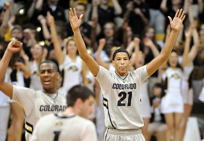 Andre Roberson of CU  celebrates near the end of the Texas game For more photos of the game, go to www.dailycamera.com Cliff Grassmick / February 26, 2011