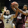 """Shannon Sharpe, left, of Colorado and Kevin Galloway of Texas Southern, struggle for a rebound during the first half of the March 16, 2011 NIT game in Boulder, Colo.<br /> For more photos of the game, go to  <a href=""""http://www.dailycamera.com"""">http://www.dailycamera.com</a>.<br /> Cliff Grassmick / March 16, 2011"""