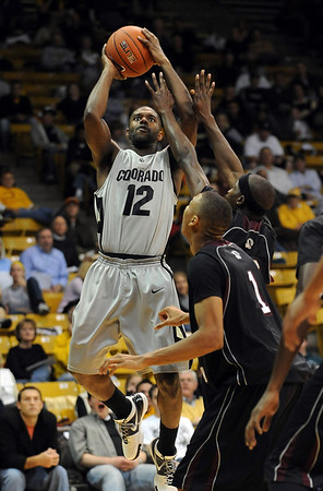 """Dwight Thorne of CU pulls up for a jumper against Texas Southern on Wednesday.<br />  For more photos of the game, go to  <a href=""""http://www.dailycamera.com"""">http://www.dailycamera.com</a>.<br /> <br /> Cliff Grassmick /November 18, 2009"""