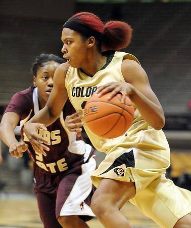 "Brittany Spears of Colorado, drives past Diamond Ford of Texas State.<br /> For more photos of the game, go to  <a href=""http://www.dailycamera.com"">http://www.dailycamera.com</a>.<br /> Cliff Grassmick / December 1, 2010"